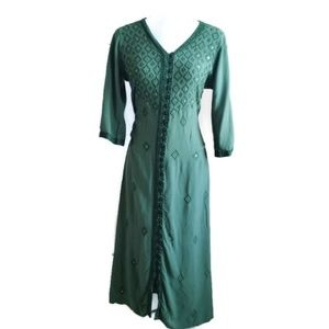 Soft Surroundings Green Buttonup Embroidered Dress